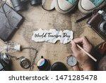 world tourism day hand writing. ...   Shutterstock . vector #1471285478