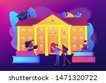 Stock vector students interacting with each other making friends at university college campus tours 1471320722