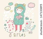 cute zodiac sign   aries.... | Shutterstock .eps vector #147133895