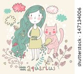 cute zodiac sign   aquarius.... | Shutterstock .eps vector #147134006