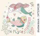 cute zodiac sign   pisces.... | Shutterstock .eps vector #147134138