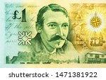 Robert Louis Stevenson portrait on 1 Scottish pound 1994 banknotes. Scottish world-famous writer. Scotland money. Closeup Collection.
