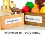 donation box with food and... | Shutterstock . vector #147140882