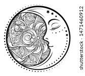 ethnic cresent moon motif.... | Shutterstock .eps vector #1471460912