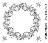 black and white autumn wreath... | Shutterstock .eps vector #1471460915