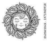 black and white ornamental sun... | Shutterstock .eps vector #1471460918