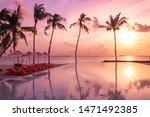 perfect beach sunset ... | Shutterstock . vector #1471492385
