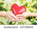 heart in hands on nature... | Shutterstock . vector #147158642