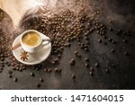 coffee cup with beans on a dark ... | Shutterstock . vector #1471604015