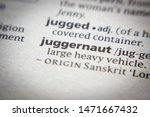 Small photo of Word or phrase Juggernaut in a dictionary