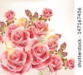 vector cute pink roses in... | Shutterstock .eps vector #147167456