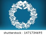 Laser cut Christmas holly wreath. Christmas decoration cutting template, vector.