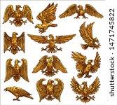 Golden Heraldic Eagle Icons...