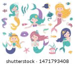 set of stickers with cute... | Shutterstock .eps vector #1471793408