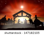 nativity christmas scene with... | Shutterstock . vector #147182105