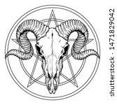 hand drawn buffalo skull native ... | Shutterstock .eps vector #1471829042