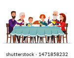 Big Family Dinner Flat Vector...