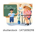 Stock vector schoolboy tells poem flat vector illustration little boy and young teacher in classroom cartoon 1471858298