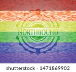 Northbound on mosaic background with the colors of the LGBT flag