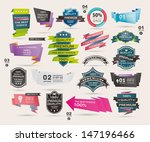set of retro ribbons and labels ... | Shutterstock .eps vector #147196466