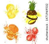 fruit in juice splashes. hand...   Shutterstock . vector #1471969532
