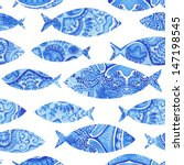 Seamless Pattern With Fishes ...