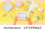 woman hold tablet in hands is... | Shutterstock .eps vector #1471998662