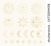 set of hand drawn golden suns...   Shutterstock .eps vector #1472004458