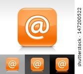 at sign orange glossy icon....