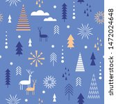 seamless christmas pattern.... | Shutterstock .eps vector #1472024648