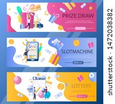 Stock vector lottery slot machine and prize draw web banner template set vector illustration lucky people 1472038382
