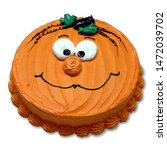 Pumpkin Face Round Cake With...
