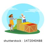 woman buying products in market ... | Shutterstock .eps vector #1472040488