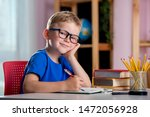 back to school. thinking child...   Shutterstock . vector #1472056928