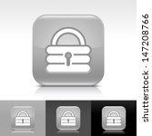 padlock icon set. gray glossy...