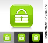 padlock icon set. green glossy...