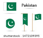 set of pakistan flags  moon and ... | Shutterstock .eps vector #1472109395