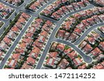 Aerial View Of Typical Suburban ...