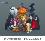 happy halloween. pumpkin... | Shutterstock .eps vector #1472222315