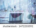 forex market chart hologram and ... | Shutterstock . vector #1472233592