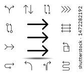 arrow three icon. simple thin...