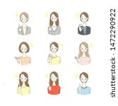 illustration of young woman icon | Shutterstock . vector #1472290922