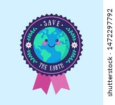 save the earth badge.... | Shutterstock .eps vector #1472297792