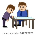agreement signed   cartoon... | Shutterstock .eps vector #147229928