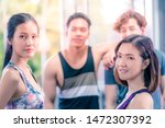 group of happy young people in... | Shutterstock . vector #1472307392