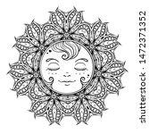 black and white ornamental sun... | Shutterstock .eps vector #1472371352
