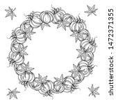 black and white autumn wreath... | Shutterstock .eps vector #1472371355