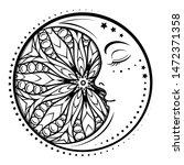 ethnic cresent moon motif.... | Shutterstock .eps vector #1472371358