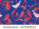 seamless pattern with birds and ... | Shutterstock . vector #1472398112
