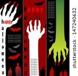 zombie hands banners - stock vector